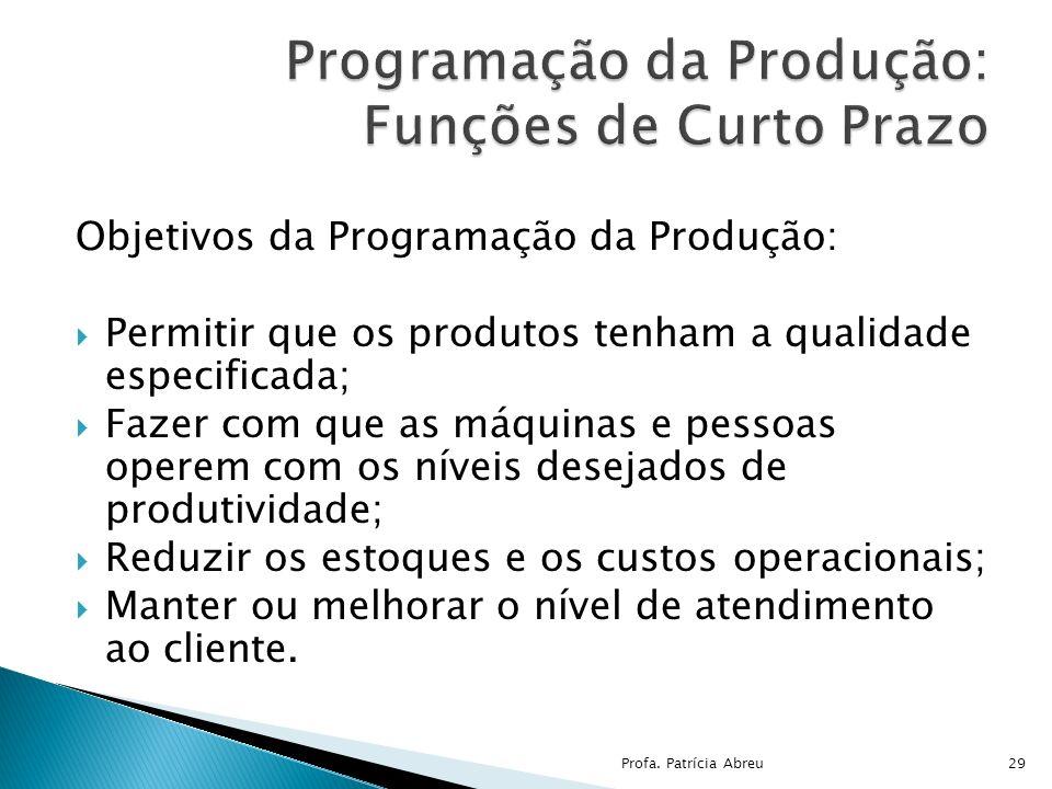 Objetivos da Programação da Produção: Permitir que os produtos tenham a qualidade especificada; Fazer com que as máquinas e pessoas operem com os níve