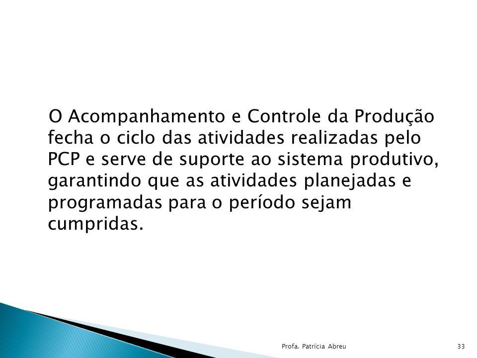 O Acompanhamento e Controle da Produção fecha o ciclo das atividades realizadas pelo PCP e serve de suporte ao sistema produtivo, garantindo que as at