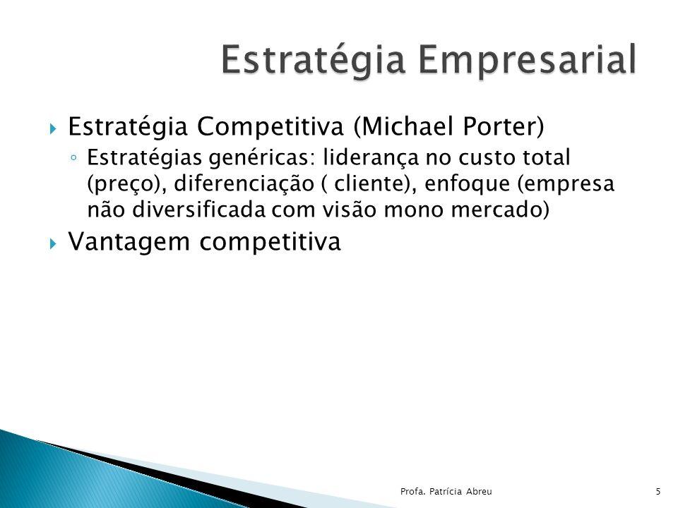 Estratégia Competitiva (Michael Porter) Estratégias genéricas: liderança no custo total (preço), diferenciação ( cliente), enfoque (empresa não divers