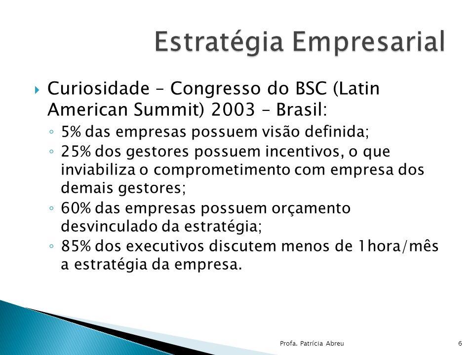 Curiosidade – Congresso do BSC (Latin American Summit) 2003 – Brasil: 5% das empresas possuem visão definida; 25% dos gestores possuem incentivos, o q
