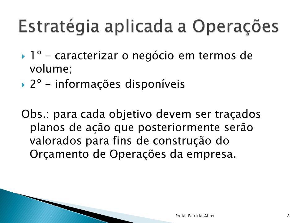 1º - caracterizar o negócio em termos de volume; 2º - informações disponíveis Obs.: para cada objetivo devem ser traçados planos de ação que posterior