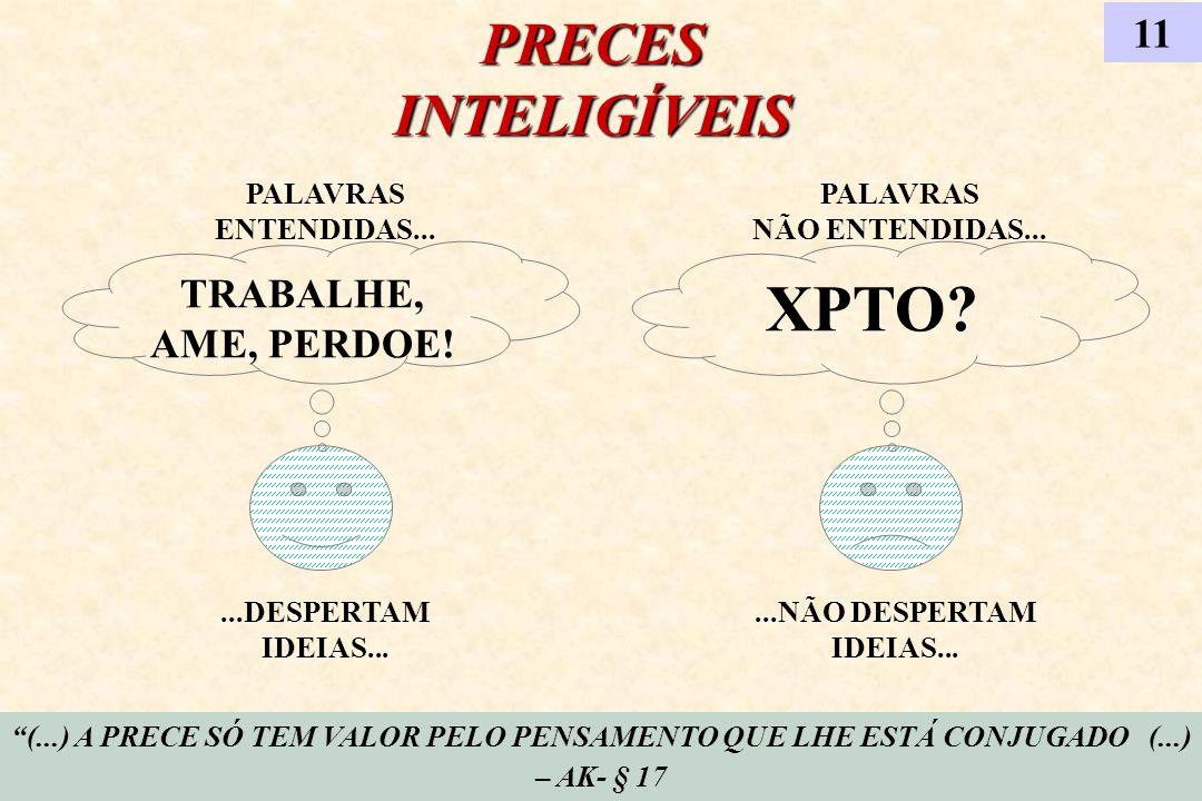 PRECES INTELIGÍVEIS TRABALHE, AME, PERDOE! PALAVRAS ENTENDIDAS... (...) A PRECE SÓ TEM VALOR PELO PENSAMENTO QUE LHE ESTÁ CONJUGADO (...) – AK- § 17 1
