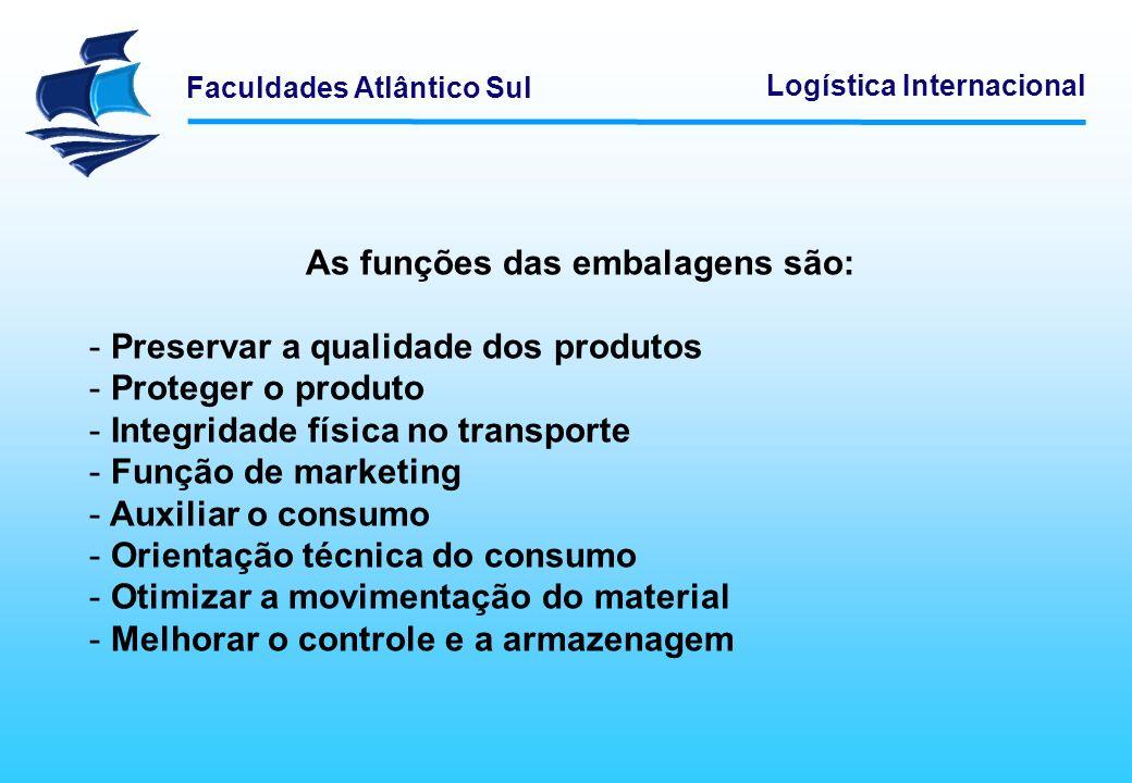 Faculdades Atlântico Sul Logística Internacional Logística Reversa ou Inversa Logística Reversa ou Inversa - No mercado é considerada como o caminho que a embalagem toma após a entrega dos materiais, no sentido da reciclagem das mesmas.
