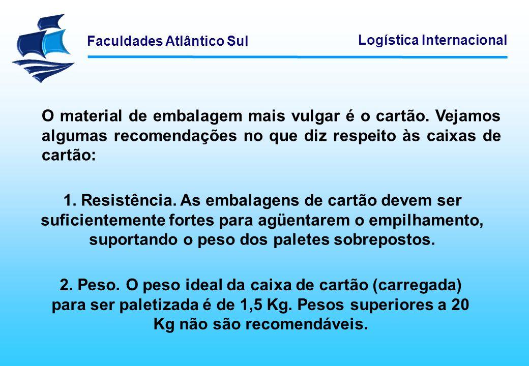 Faculdades Atlântico Sul Logística Internacional Quanto a natureza e de acordo com a sua finalidade a embalagem pode ser dividida: Embalagem de consumo; Embalagem de transporte; e Embalagem industrial.