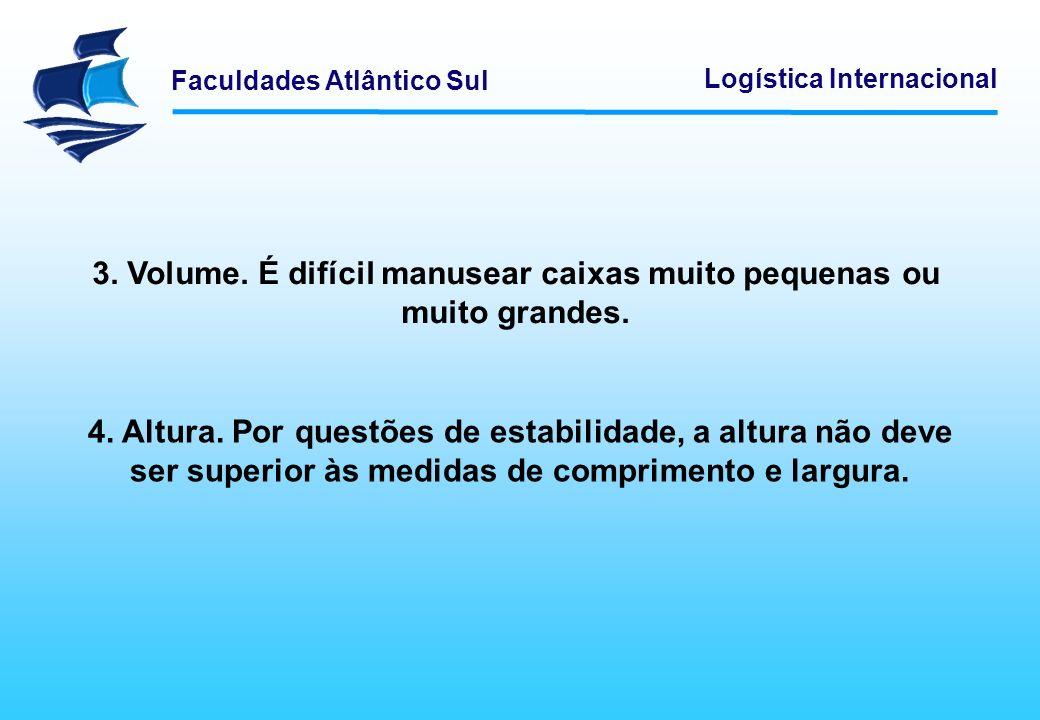 Faculdades Atlântico Sul Logística Internacional Existem alguns tipos de embalagem que não devem ser paletizados: 1.