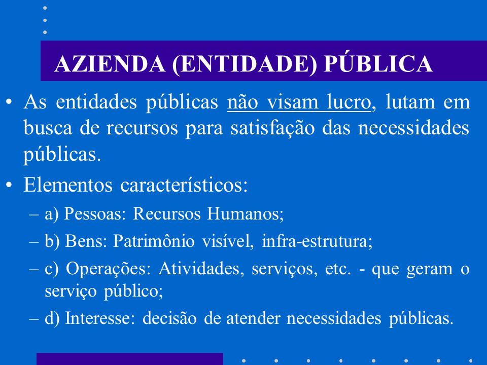 AZIENDA (ENTIDADE) PÚBLICA É o instituto econômico que se forma e se desenvolve coordenadamente com a participação de elementos pessoais e o emprego d