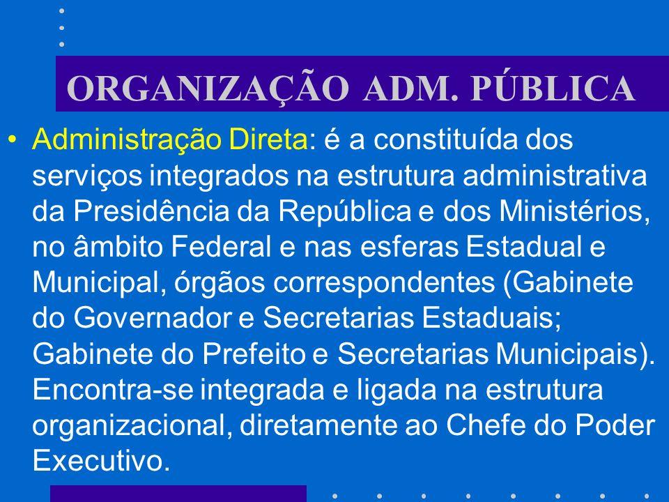 ORGANIZAÇÃO ADM. PÚBLICA Função administrativa ou executiva: Poder Executivo. O exercício desta função de Estado se concretiza através do poder de Est