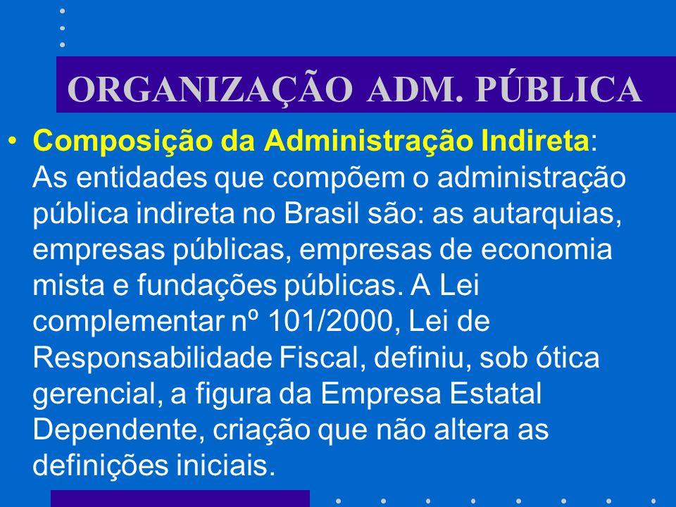 ORGANIZAÇÃO ADM. PÚBLICA Administração Indireta: é aquela atividade administrativa, caracterizada como serviço público ou de interesse público, confia