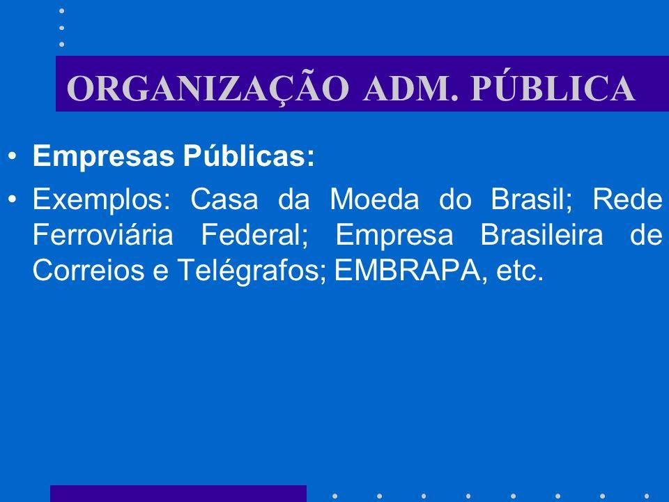 ORGANIZAÇÃO ADM. PÚBLICA Empresas Públicas: Entidades de personalidade jurídica de direito privado com patrimônio próprio e capital exclusivamente gov