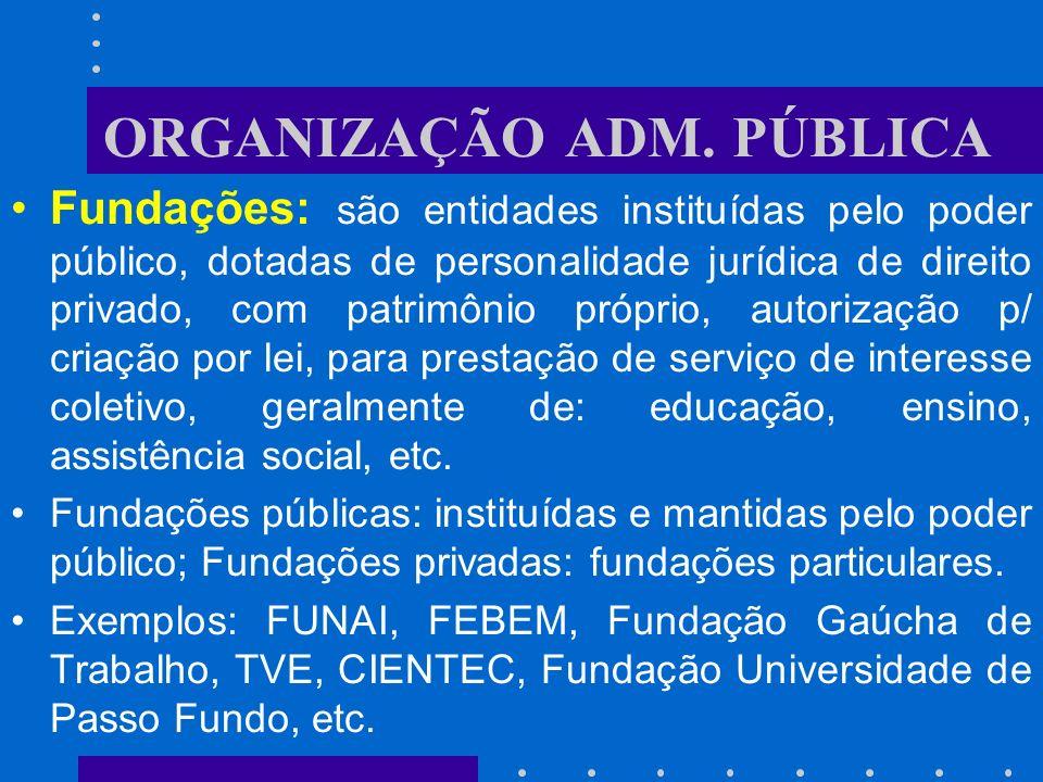 ORGANIZAÇÃO ADM. PÚBLICA Sociedade de Economia Mista: entidade de personalidade jurídica de direito privado, com patrimônio e renda próprios, cuja cri