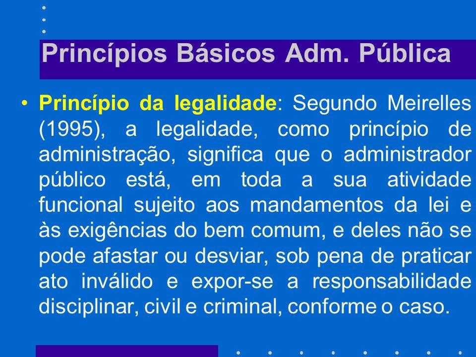 Princípios Básicos Adm. Pública CF, art. 37: A administração pública direta e indireta de qualquer dos Poderes da União, dos Estados, do Distrito Fede