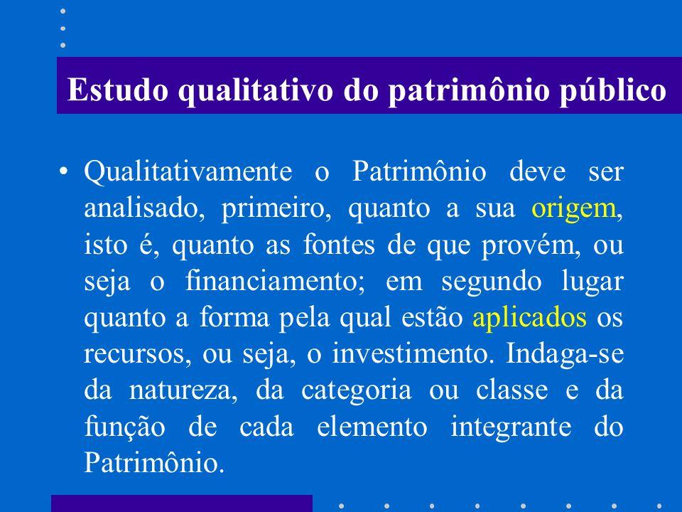 PATRIMÔNIO PÚBLICO Qualitativamente o Patrimônio Público é entendido como um conjunto heterogêneo de bens à disposição de uma Entidade em um determina