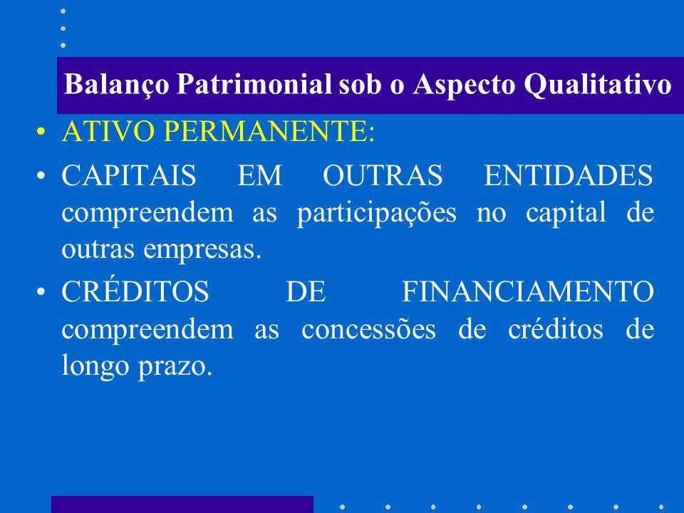 Balanço Patrimonial sob o Aspecto Qualitativo ATIVO PERMANENTE: BENS DE CONSUMO compreendem os bens de almoxarifado BENS DE USO compreendem os bens mó
