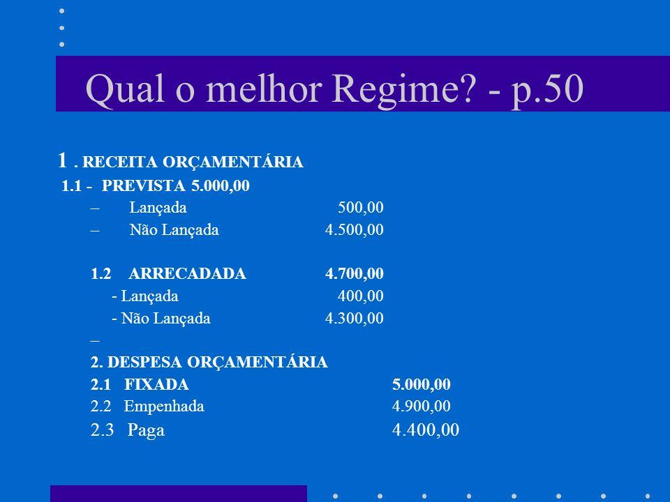 REGIMES CONTÁBEIS REGIME MISTO - o legislador definiu o regime aplicado à Administração Pública brasileira como misto para a execução financeira: de c