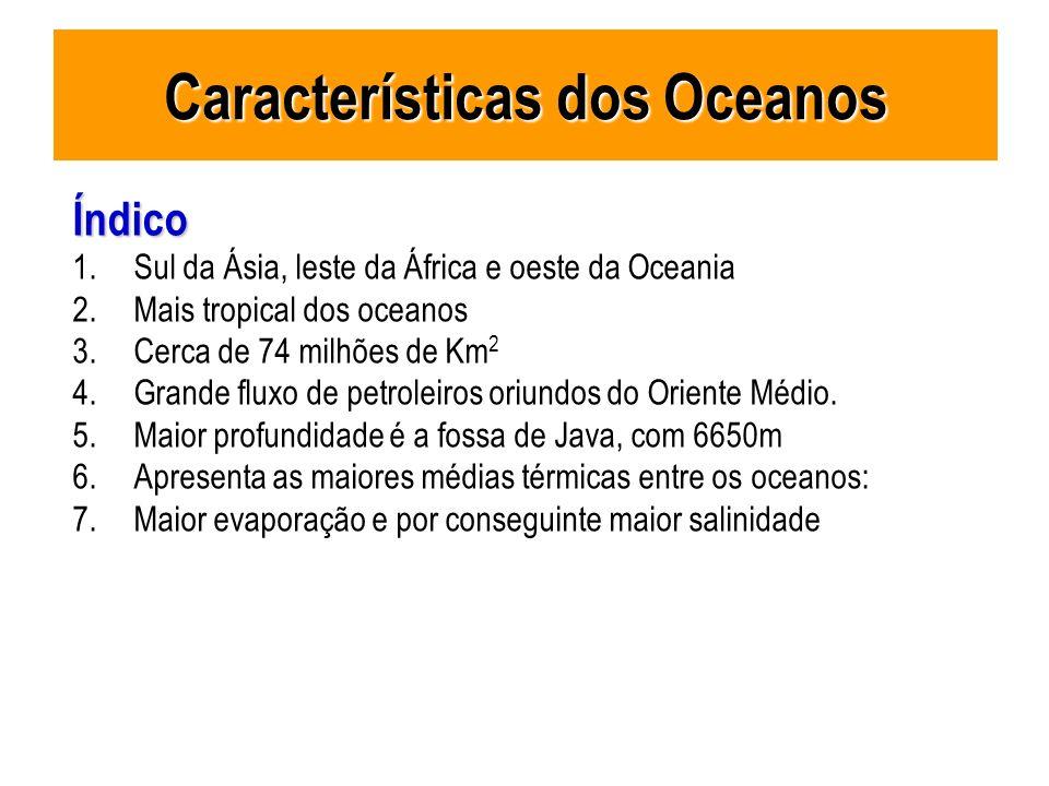 Índico 1.Sul da Ásia, leste da África e oeste da Oceania 2.Mais tropical dos oceanos 3.Cerca de 74 milhões de Km 2 4.Grande fluxo de petroleiros oriun