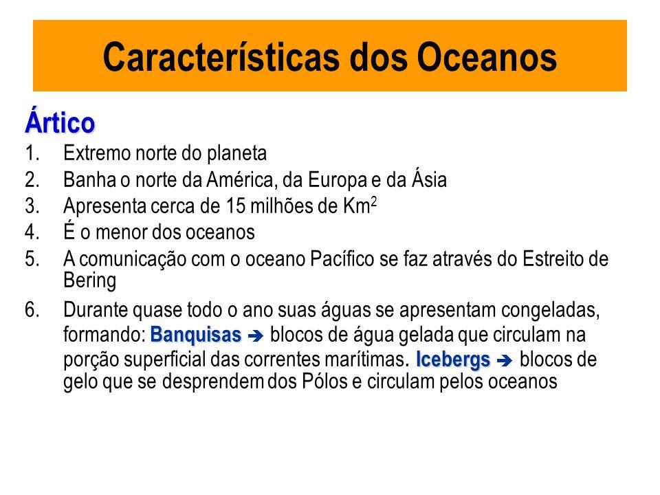 Características dos Oceanos Ártico 1.Extremo norte do planeta 2.Banha o norte da América, da Europa e da Ásia 3.Apresenta cerca de 15 milhões de Km 2