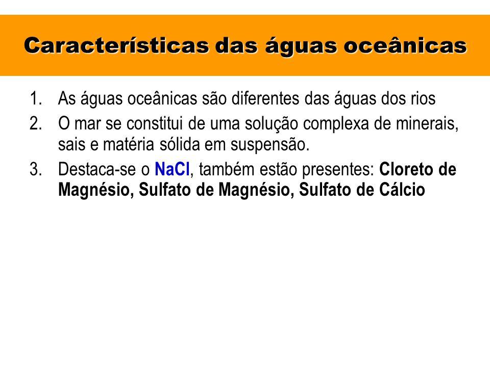 Características das águas oceânicas 1.As águas oceânicas são diferentes das águas dos rios 2.O mar se constitui de uma solução complexa de minerais, s