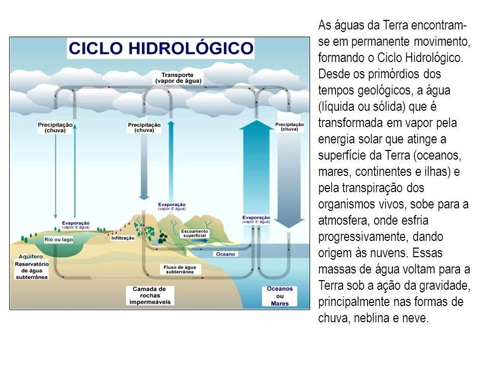 As águas da Terra encontram- se em permanente movimento, formando o Ciclo Hidrológico. Desde os primórdios dos tempos geológicos, a água (líquida ou s