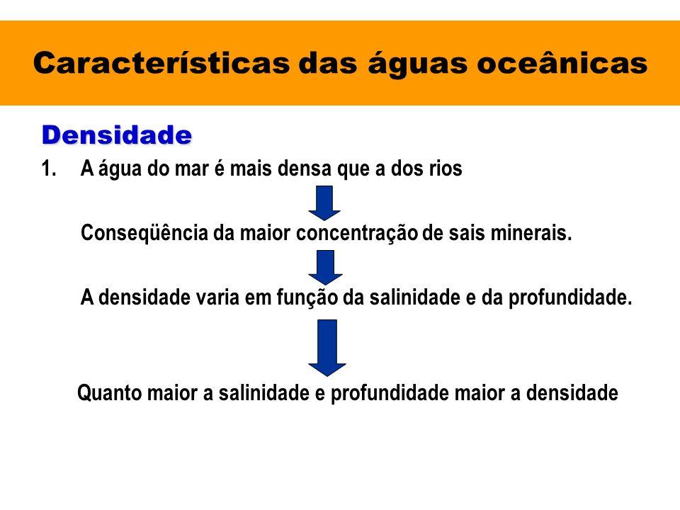 Características das águas oceânicas Densidade 1.A água do mar é mais densa que a dos rios Conseqüência da maior concentração de sais minerais. A densi
