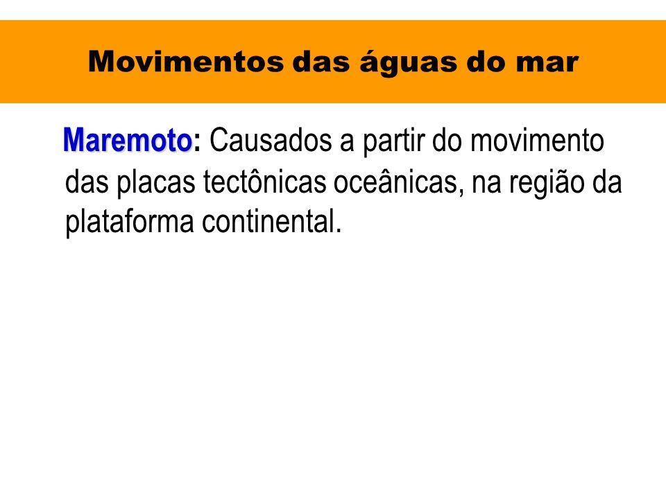 Movimentos das águas do mar Maremoto Maremoto: Causados a partir do movimento das placas tectônicas oceânicas, na região da plataforma continental.