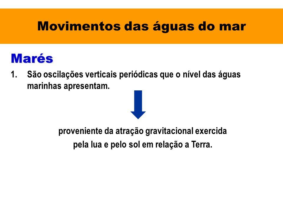 Movimentos das águas do mar Marés 1.São oscilações verticais periódicas que o nível das águas marinhas apresentam. proveniente da atração gravitaciona