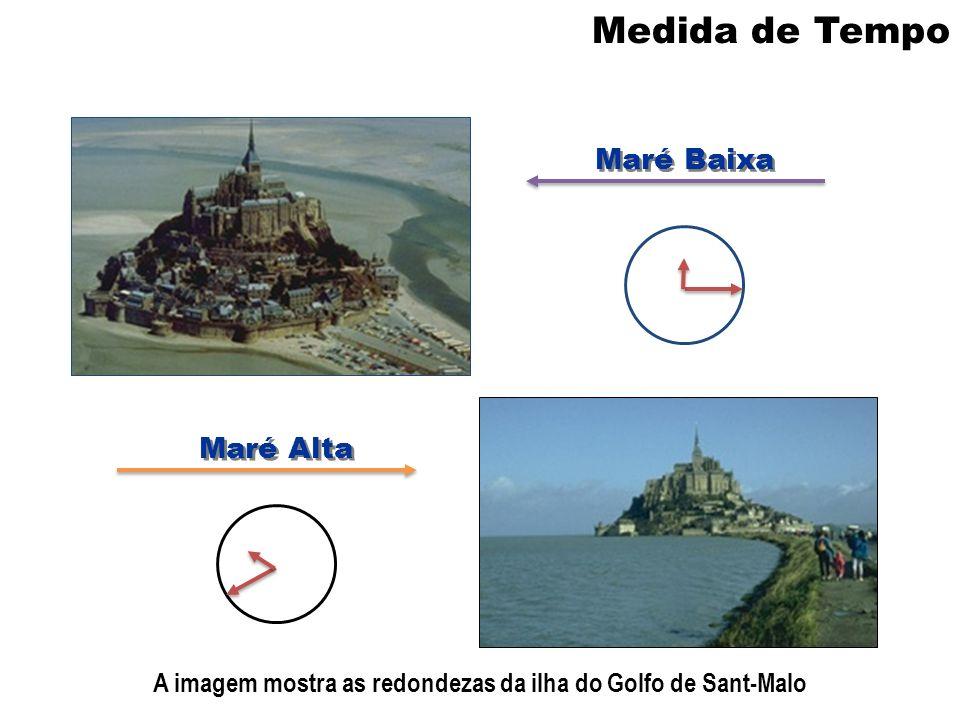 Medida de Tempo Maré Baixa Maré Alta A imagem mostra as redondezas da ilha do Golfo de Sant-Malo