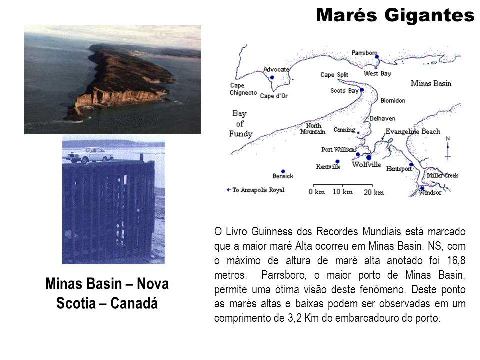 Marés Gigantes Minas Basin – Nova Scotia – Canadá O Livro Guinness dos Recordes Mundiais está marcado que a maior maré Alta ocorreu em Minas Basin, NS