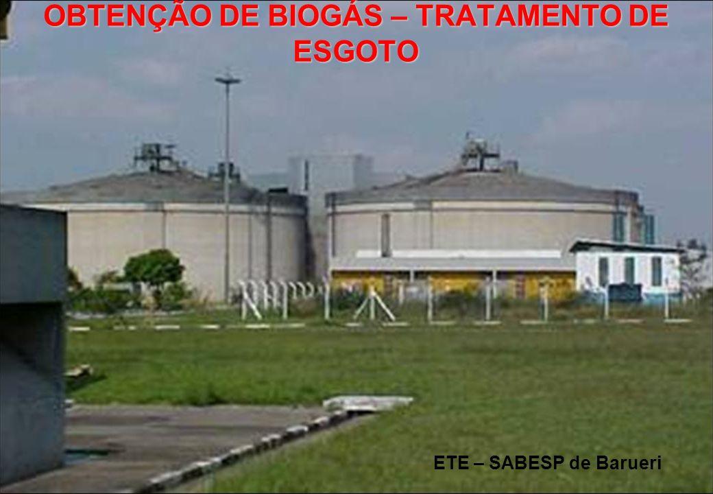 ETE – SABESP de Barueri OBTENÇÃO DE BIOGÁS – TRATAMENTO DE ESGOTO