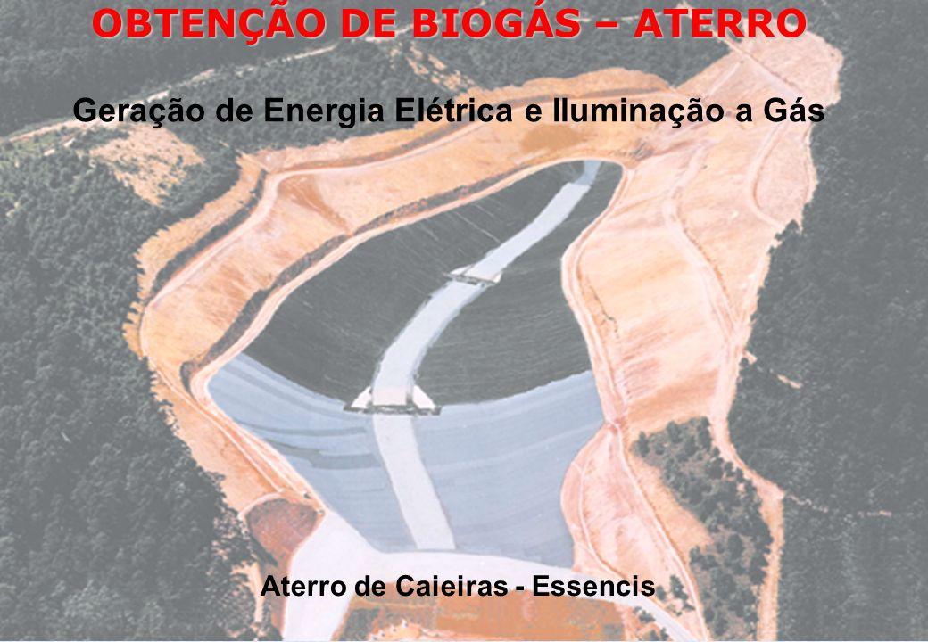 OBTENÇÃO DE BIOGÁS – ATERRO Geração de Energia Elétrica e Iluminação a Gás Aterro de Caieiras - Essencis