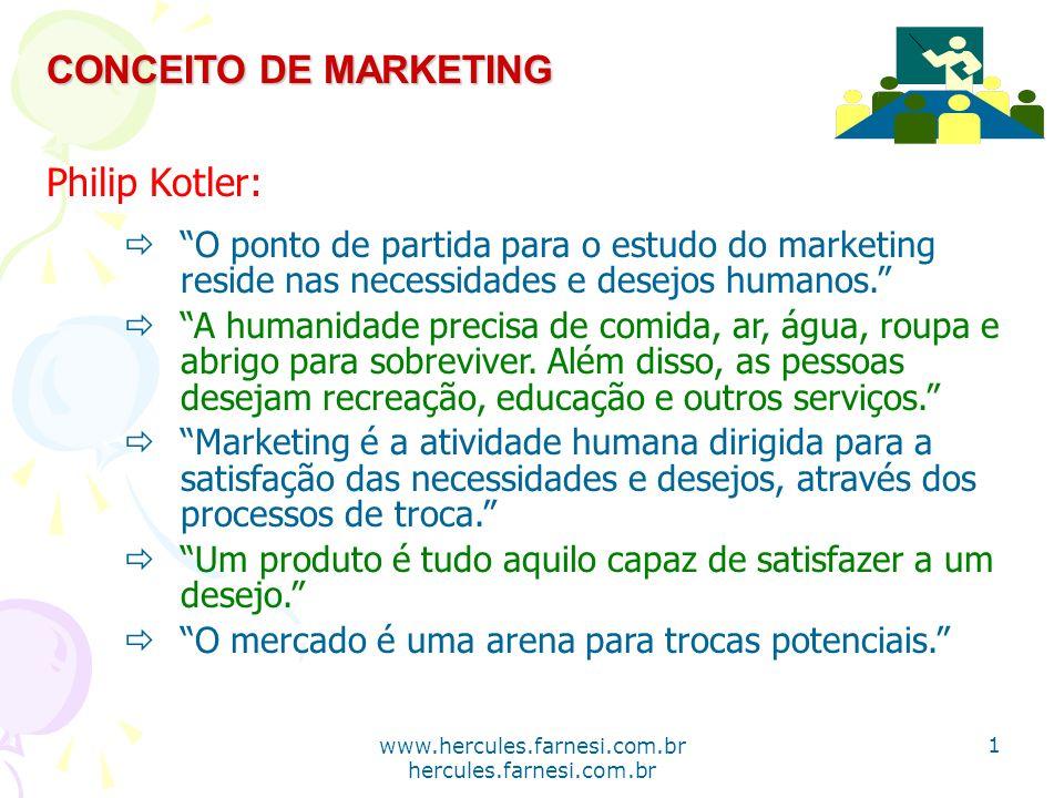 www.hercules.farnesi.com.br hercules.farnesi.com.br CONCEITO DE MARKETING Philip Kotler: O ponto de partida para o estudo do marketing reside nas nece