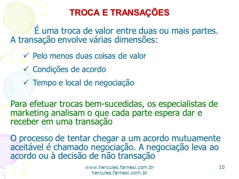 www.hercules.farnesi.com.br hercules.farnesi.com.br TROCA E TRANSAÇÕES É uma troca de valor entre duas ou mais partes. A transação envolve várias dime