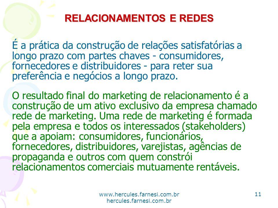 www.hercules.farnesi.com.br hercules.farnesi.com.br RELACIONAMENTOS E REDES É a prática da construção de relações satisfatórias a longo prazo com part