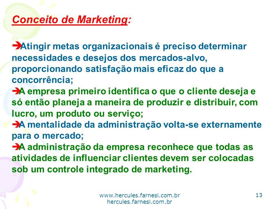www.hercules.farnesi.com.br hercules.farnesi.com.br Conceito de Marketing: è Atingir metas organizacionais é preciso determinar necessidades e desejos