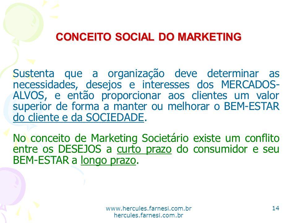 www.hercules.farnesi.com.br hercules.farnesi.com.br CONCEITO SOCIAL DO MARKETING Sustenta que a organização deve determinar as necessidades, desejos e