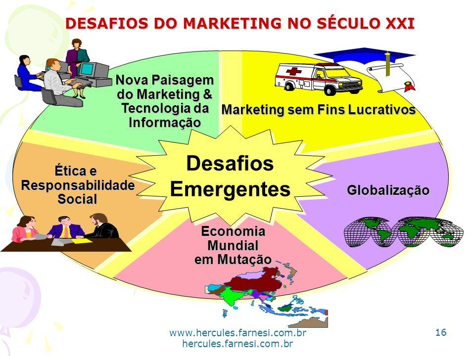 Desafios Emergentes Desafios Emergentes Marketing sem Fins Lucrativos Nova Paisagem do Marketing & Tecnologia da Informação Ética e ResponsabilidadeSo