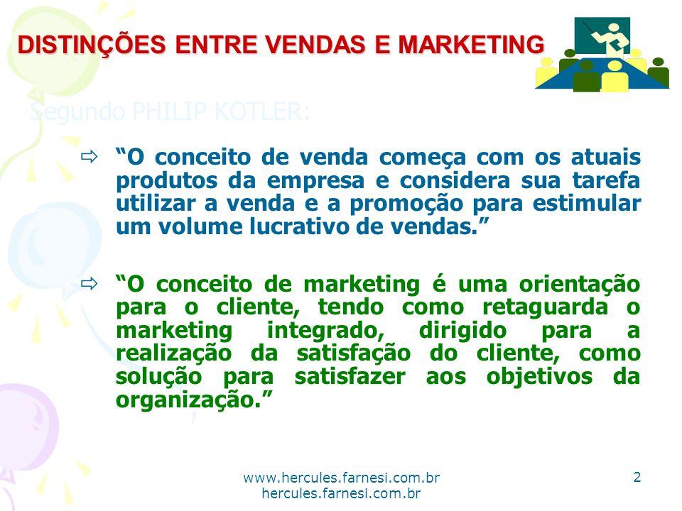 www.hercules.farnesi.com.br hercules.farnesi.com.br DISTINÇÕES ENTRE VENDAS E MARKETING Segundo PHILIP KOTLER: O conceito de venda começa com os atuai