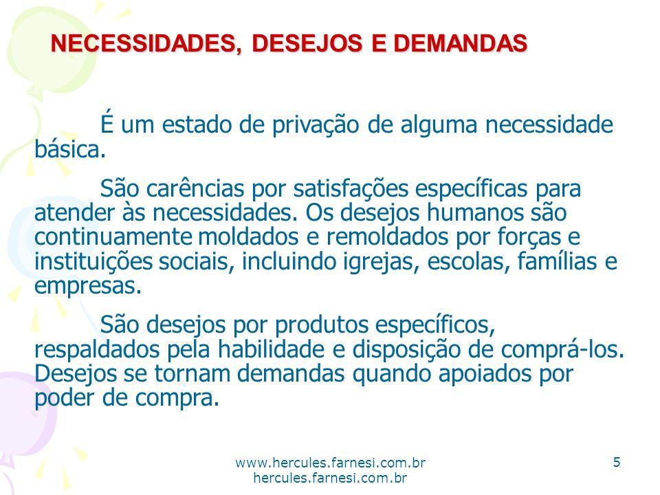 www.hercules.farnesi.com.br hercules.farnesi.com.br NECESSIDADES, DESEJOS E DEMANDAS Os profissionais de marketing criam necessidades ou induzem as pessoas a comprar coisas que não desejam.