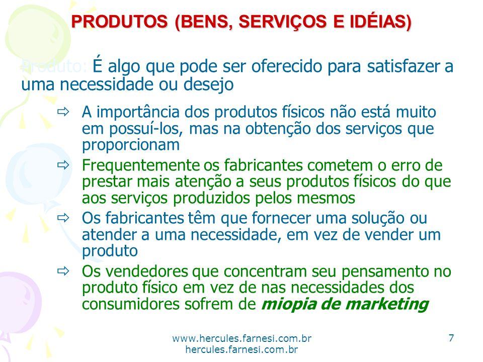 www.hercules.farnesi.com.br hercules.farnesi.com.br PRODUTOS (BENS, SERVIÇOS E IDÉIAS) Produto: É algo que pode ser oferecido para satisfazer a uma ne
