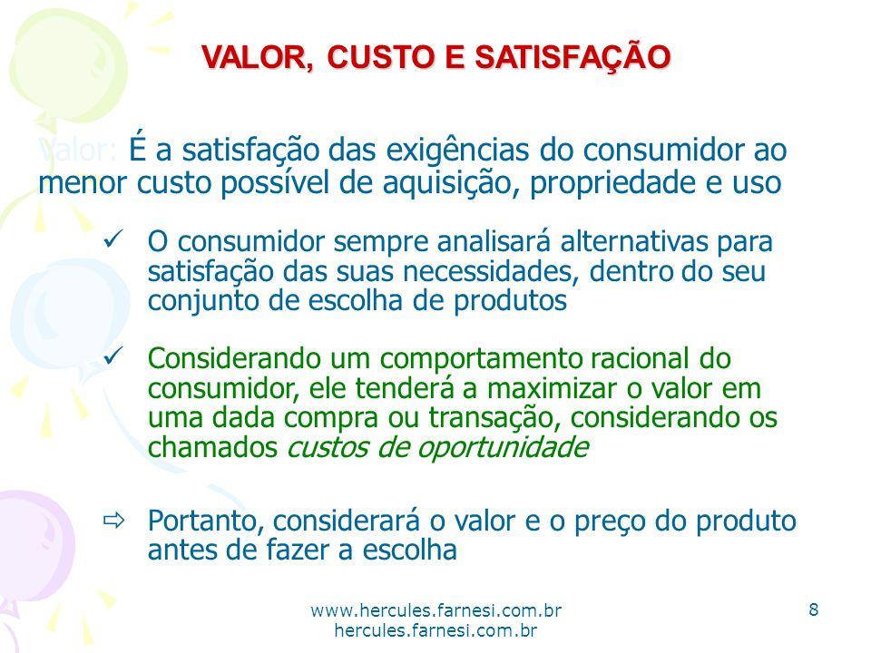 www.hercules.farnesi.com.br hercules.farnesi.com.br VALOR, CUSTO E SATISFAÇÃO Valor: É a satisfação das exigências do consumidor ao menor custo possív
