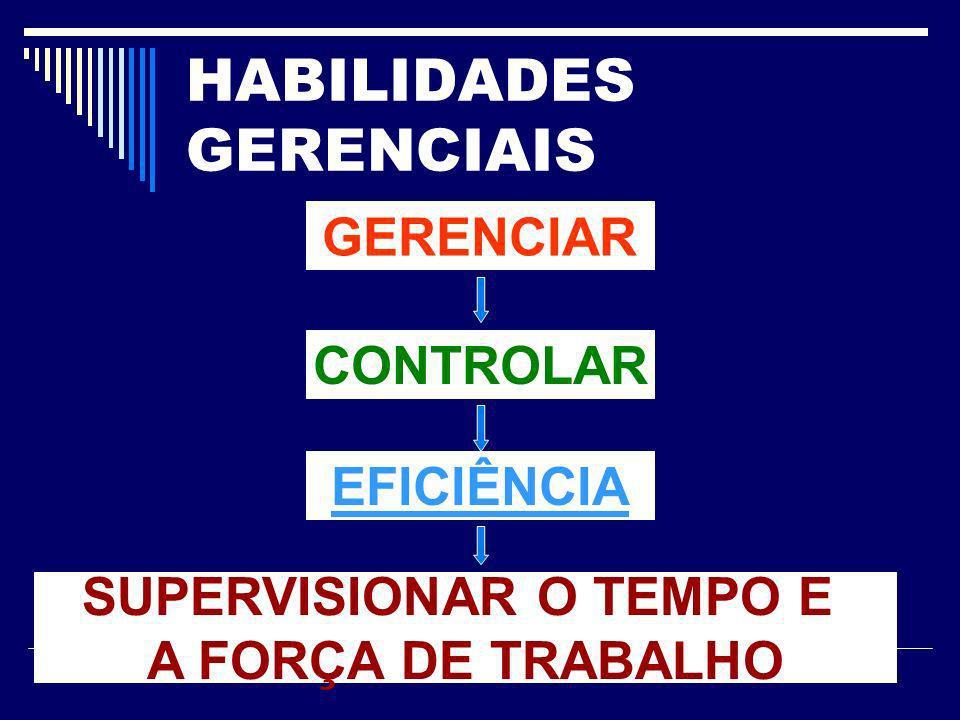 HABILIDADES GERENCIAIS GERENCIAR CONTROLAR EFICIÊNCIA SUPERVISIONAR O TEMPO E A FORÇA DE TRABALHO