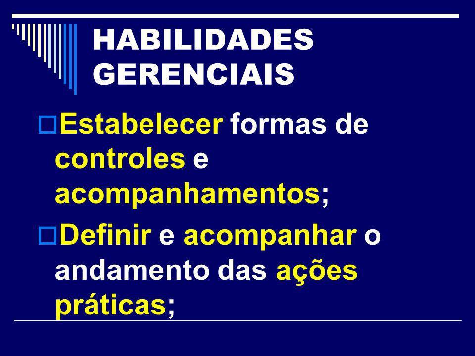 HABILIDADES GERENCIAIS Estabelecer formas de controles e acompanhamentos; Definir e acompanhar o andamento das ações práticas;