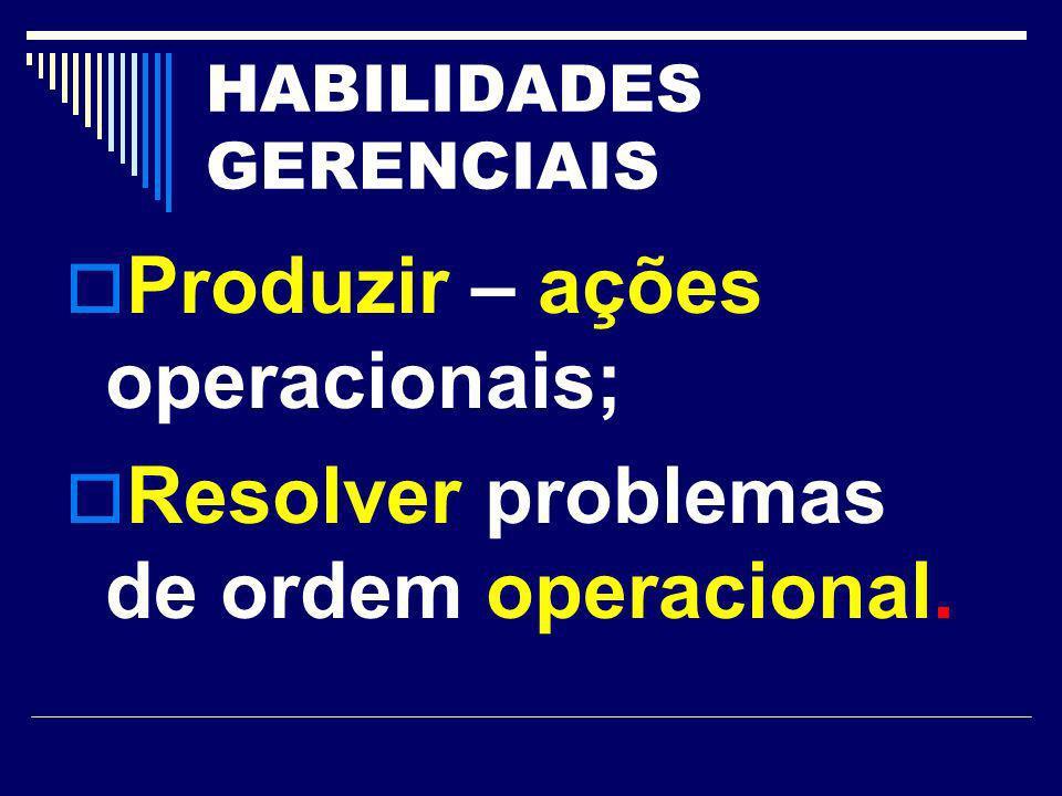 HABILIDADES GERENCIAIS Produzir – ações operacionais; Resolver problemas de ordem operacional.