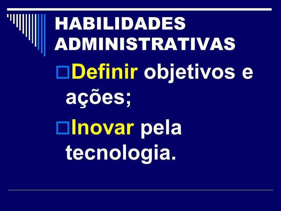 HABILIDADES ADMINISTRATIVAS Definir objetivos e ações; Inovar pela tecnologia.