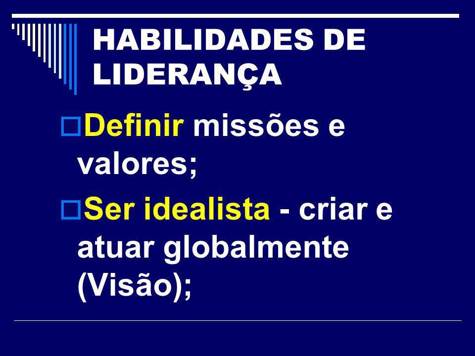 HABILIDADES DE LIDERANÇA Definir missões e valores; Ser idealista - criar e atuar globalmente (Visão);