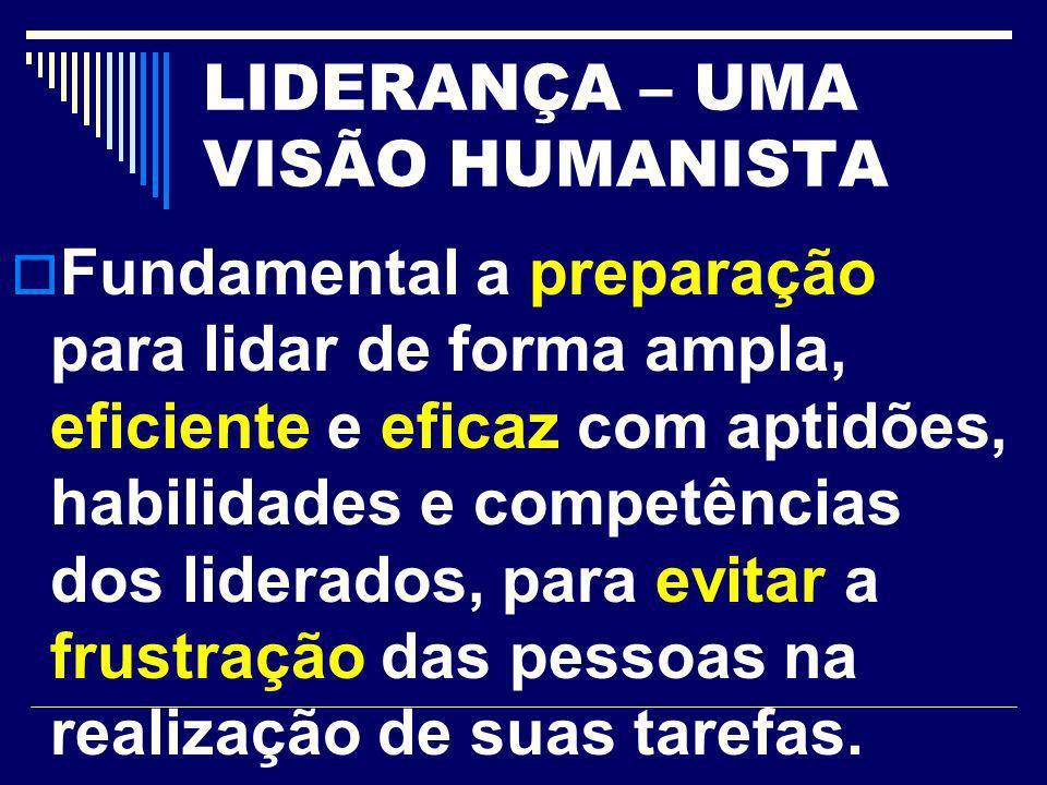 LIDERANÇA – UMA VISÃO HUMANISTA Fundamental a preparação para lidar de forma ampla, eficiente e eficaz com aptidões, habilidades e competências dos li