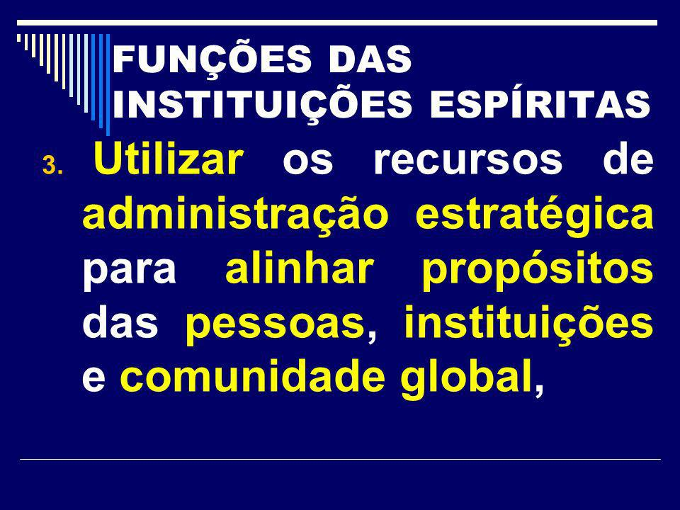 FUNÇÕES DAS INSTITUIÇÕES ESPÍRITAS 3. Utilizar os recursos de administração estratégica para alinhar propósitos das pessoas, instituições e comunidade