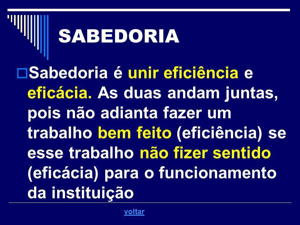 SABEDORIA Sabedoria é unir eficiência e eficácia. As duas andam juntas, pois não adianta fazer um trabalho bem feito (eficiência) se esse trabalho não