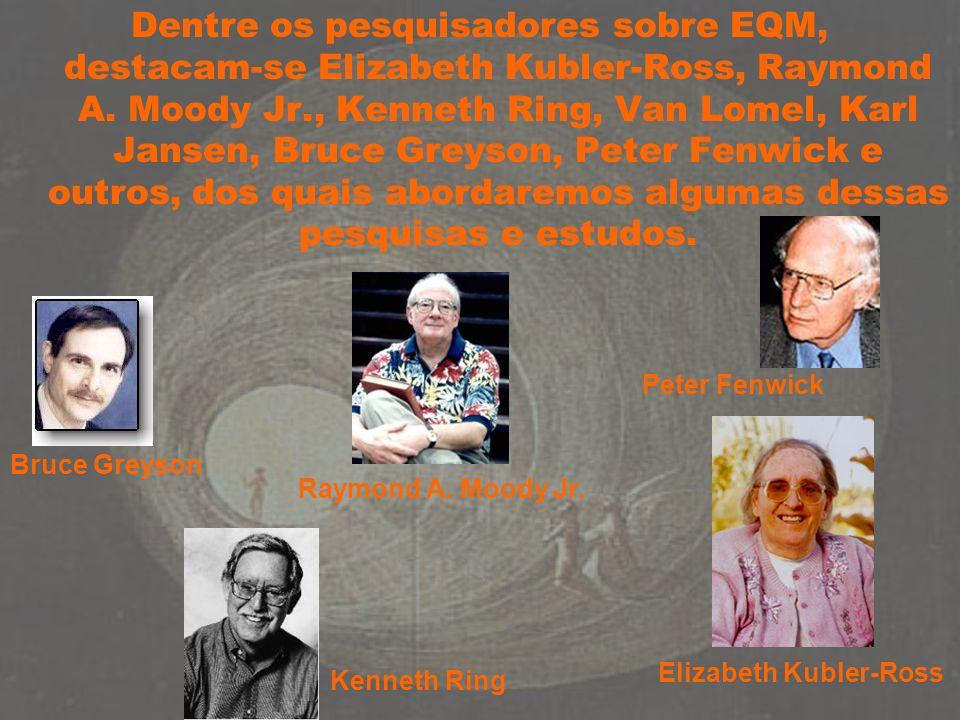 Bruce Greyson Elizabeth Kubler-Ross Raymond A. Moody Jr. Kenneth Ring Peter Fenwick Dentre os pesquisadores sobre EQM, destacam-se Elizabeth Kubler-Ro