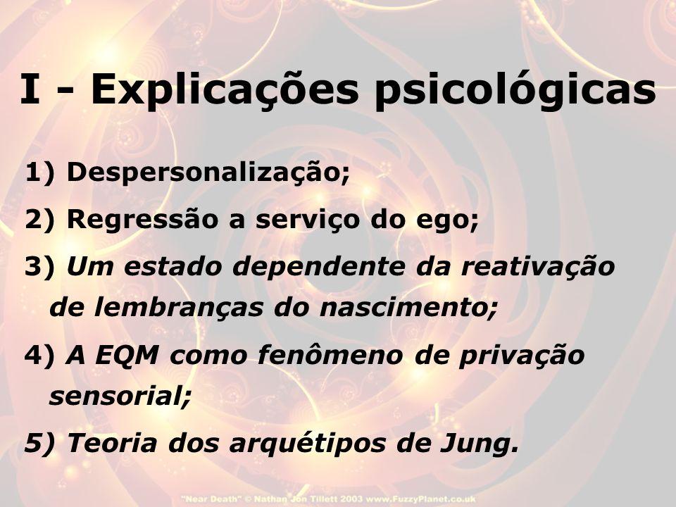 I - Explicações psicológicas 1) Despersonalização; 2) Regressão a serviço do ego; 3) Um estado dependente da reativação de lembranças do nascimento; 4