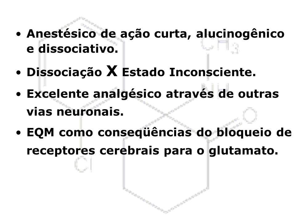 Anestésico de ação curta, alucinogênico e dissociativo. Dissociação X Estado Inconsciente. Excelente analgésico através de outras vias neuronais. EQM